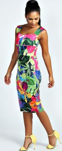 Myla Tropical Print Sweetheart Midi Bodycon Dress