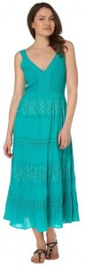 Roman Women's Long Plain Cotton Summer Dress Turquoise